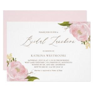 Watercolor Pink Peonies Bridal Luncheon Invitation starting at 2.15