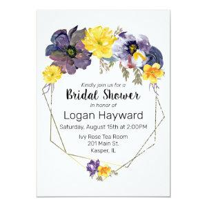 Watercolor Plum Gray Yellow Floral Gold Frame Invitation starting at 2.51