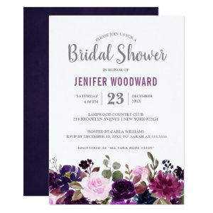 Watercolor Purple Plum Floral Boho Bridal Shower Invitation starting at 2.51
