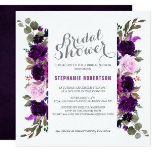 Watercolor Purple Plum Floral Boho Bridal Shower Invitation starting at 2.41