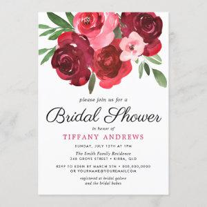 Watercolor Romantic Red Roses Bridal Shower Invitation starting at 2.55
