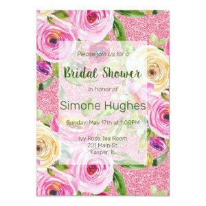 Watercolor Roses Pink Glitter Bridal Shower Invitation starting at 2.26