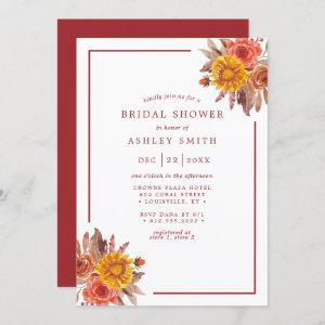 Watercolor Rustic Autumn Floral Fall Bridal Shower Invitation starting at 2.40