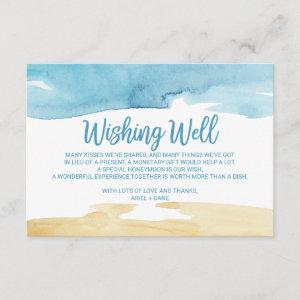 Watercolor Sand and Sea Wedding Wishing Well Enclosure Card starting at 1.91