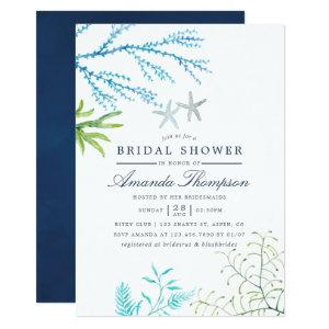 Watercolor Seaweed Beach Themed Bridal Shower Invitation starting at 2.66