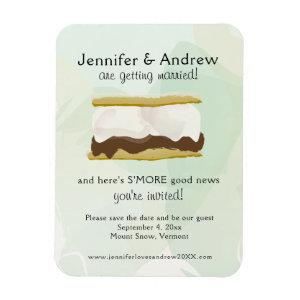 Watercolor S'mores Green Save the Date Magnet starting at 5.25
