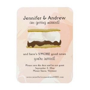 Watercolor S'mores Peach Save the Date Magnet starting at 5.25