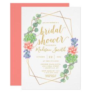 Watercolor Succulent Terrarium Bridal Shower Invitation starting at 2.55