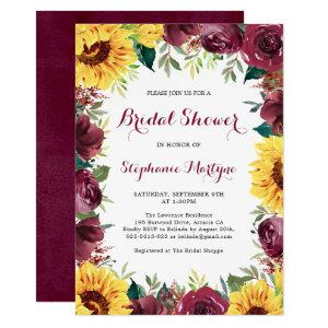 Watercolor Sunflowers Floral Border Bridal Shower Invitation starting at 2.40