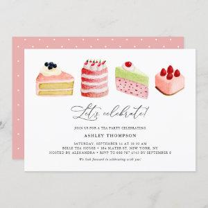 Watercolor Sweet Cakes Tea Party Brunch Invitation starting at 2.40