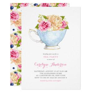 Watercolor Teacup Bouquet Flowers Tea Party Invitation starting at 2.40