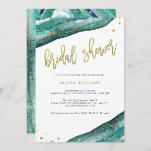 Watercolor Teal and Gold Geode Bridal Shower Invitation starting at 2.51