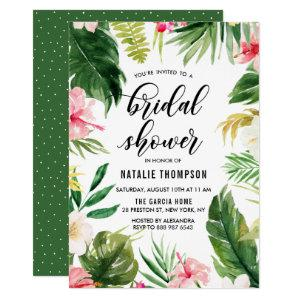 Watercolor Tropical Floral Frame Bridal Shower Invitation starting at 2.15