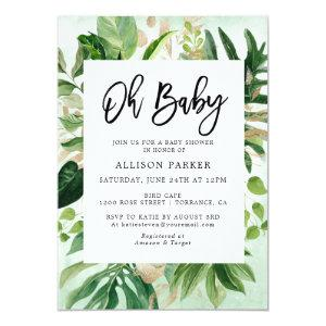 Watercolor Tropical Leaves Baby Shower Invitation starting at 2.61