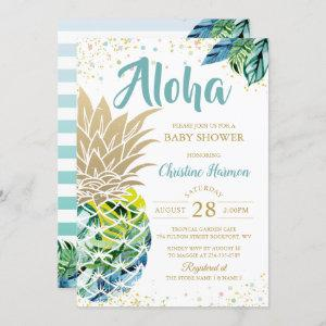 Watercolor Tropical Pineapple Beach Baby Shower Invitation starting at 2.35
