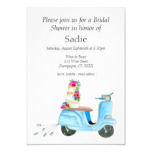 Watercolor Wedding Scooter Bridal Shower Invitation starting at 2.55