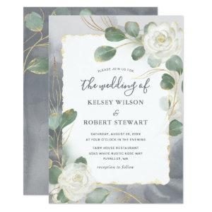 Watercolor White Roses Gray Gold Greenery Wedding Invitation starting at 2.82
