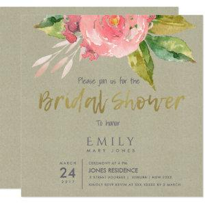 WATERCOLOUR PINK FLOWER FOLIAGE BRIDAL SHOWER INVITATION starting at 2.67