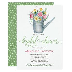 Watering can sage blush pink floral bridal shower invitation starting at 2.26