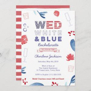 WED Red White and Blue Bachelorette Bridal Shower Invitation starting at 2.66