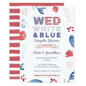 WED White Blue Couples Shower or Engagement Party Invitation starting at 2.66