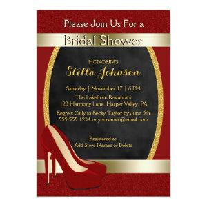Wedding Bridal Shower | Chic Gold Red High Heels Invitation starting at 2.45