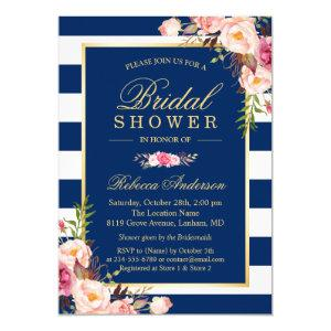 Wedding Bridal Shower | Navy Blue Stripes Floral Invitation starting at 2.30