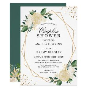 Wedding Couples Shower Modern Gold Greenery Floral Invitation starting at 2.45
