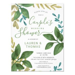 Wedding Couple's Shower Watercolor Foliage Invitation starting at 2.05