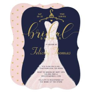 Wedding Dress Navy Gold Bridal Shower Invitation starting at 2.80