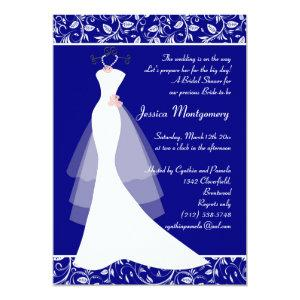 Wedding gown on royal blue Bridal Shower Invite starting at 2.61