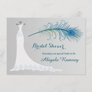 Wedding gown, peacock feather Bridal Shower Invite starting at 2.26