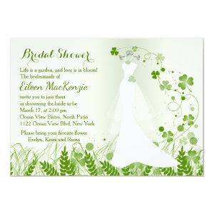 Wedding gown, shamrock in a meadow, Bridal Shower Invitation starting at 2.61