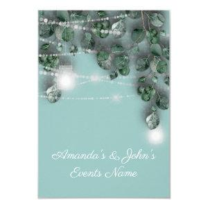 Wedding Lights Jars Rustic Green Blue Tiffany Invitation starting at 1.95