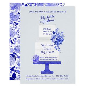 Wedding Party Names Cake Topper Blue Floral Invitation starting at 2.40