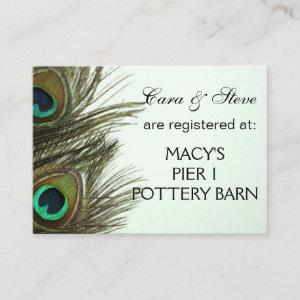 Wedding Registry Peacock Feather Cards starting at 0.35