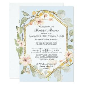 Wedding Shower Pale Blue Floral Rose Watercolor Invitation starting at 2.66