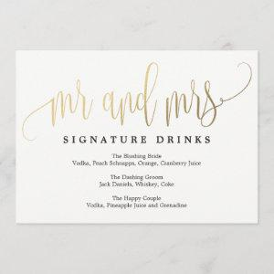 Wedding Signature Drinks Sign - Lovely Calligraphy starting at 2.51