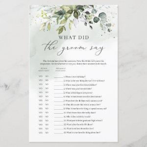 What did the groom say bridal shower game green starting at 0.71