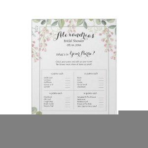 What's In Your Purse? Bridal Shower Game Botanical Notepad starting at 13.85