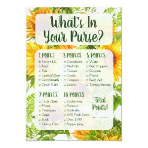 What's In Your Purse Shower Game Sunflowers Yellow Invitation starting at 2.66