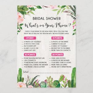 What's on Your Phone Fiesta Bridal Shower Game Invitation starting at 2.56