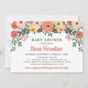 Whimsical Blush Coral Floral Baby Shower starting at 2.51