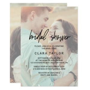 Whimsical Calligraphy | Faded Photo Bridal Shower Invitation starting at 2.51