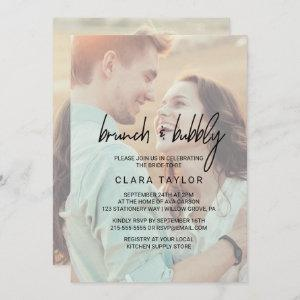 Whimsical Calligraphy Faded Photo Brunch & Bubbly Invitation starting at 2.51