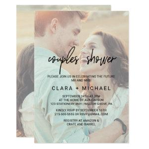 Whimsical Calligraphy | Faded Photo Couples Shower Invitation starting at 2.26