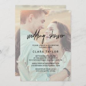 Whimsical Calligraphy | Faded Photo Wedding Shower Invitation starting at 2.51