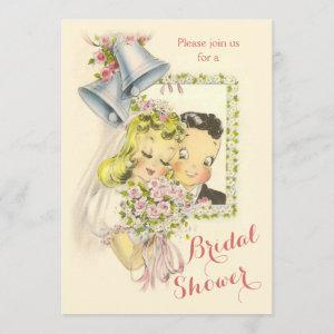 Whimsical Retro Bride and Groom Bridal Shower Invitation starting at 2.66