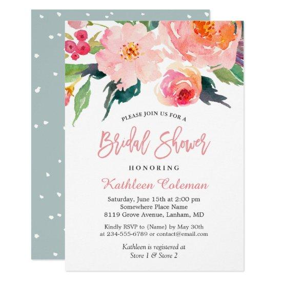 Whimsical Watercolor Floral Modern Bridal Shower Invitation