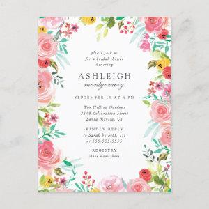Whimsical Watercolor Floral Wreath Bridal Shower Invitation Postcard starting at 1.70
